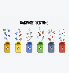 Garbage sorting concept trash cans with different vector