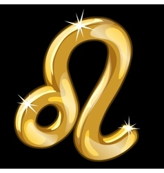 Gold figure of zodiac sign leo on black background vector