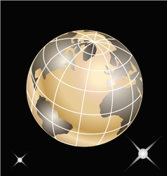 Golden planet earth vector image
