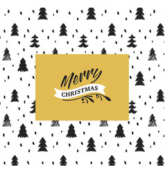 Hand-drawn card with xmas trees vector