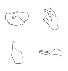 Handshake okay index up palm hand gesturesv vector