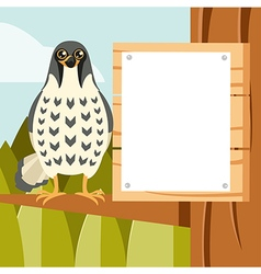 Happy Falcon on the Tree flat background vector