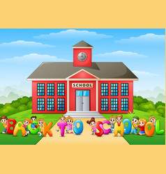 happy school children holdi vector image