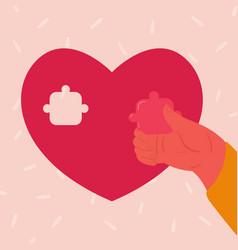 Heart shaped puzzle woman hand inserts piece vector