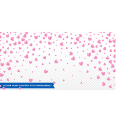hearts confetti pattern on transparent background vector image