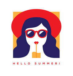Hello summer card with girl in sunglasses vector