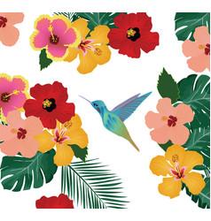 Hummingbird floral background vector
