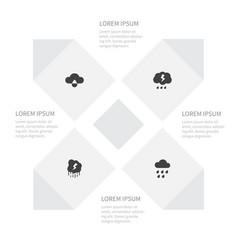 icon sky set of thunder storm cloud and other vector image