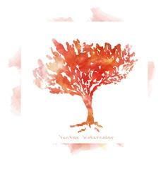 imitation watercolors - autumn trees vector image