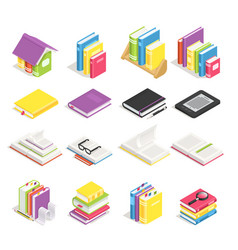 isometric books school textbook book with vector image