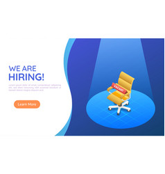 Isometric web banner ergonomic office chair under vector