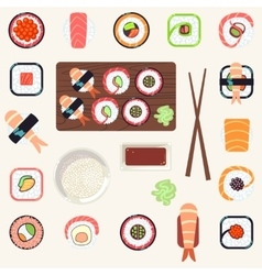 Japanese food set vector image vector image
