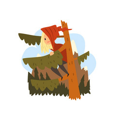 kid got lost in the forest girl sitting on a pine vector image