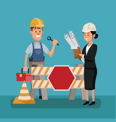 labor day people boss worker construction vector image
