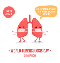 lungs characters wearing medical masks vector image