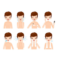 Man shaving beard and cleaning his face steps vector