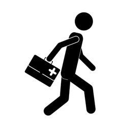 Man with a medical kit vector
