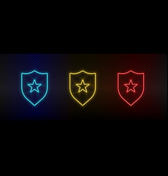 Neon icons badge insignia set red blue vector