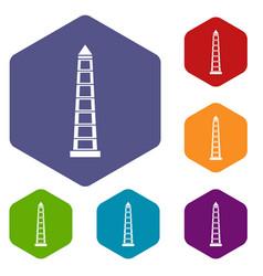 Obelisco of buenos aires icons set hexagon vector
