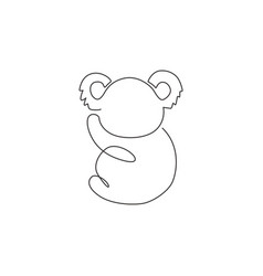 one continuous line drawing adorable koala vector image