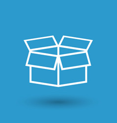open box icon shipping pack flat on blue vector image