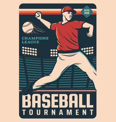 Pitcher baseball player with ball at stadium field vector