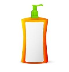 Plastic Clean Colored Bottle With Dispenser Pump vector