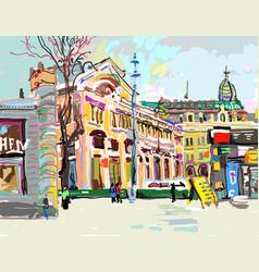 Plein air digital painting cityscape - kiev vector