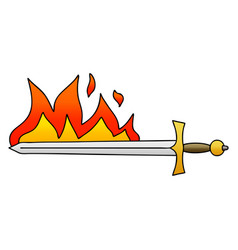 Quirky gradient shaded cartoon flaming sword vector