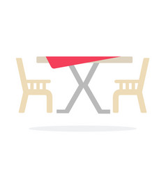 restaurant table with two chairs flat isolated vector image