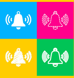 ringing bell icon four styles of icon on four vector image