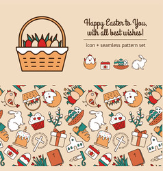 Scrapbooking kit with seamless pattern linear vector