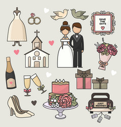 set of cartoon doodle wedding vector image