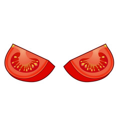 Set of fresh red tomato quarters isolated on white vector