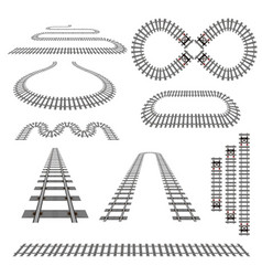 Set of new railroad curves perspectives turns vector