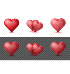 set of realistic valentine hearts elements on the vector image