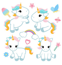 Set of unicorn set of unicorn vector