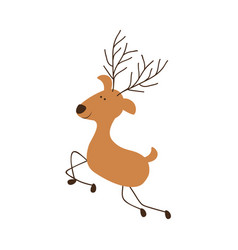 silhouette caricature color of reindeer jumping vector image