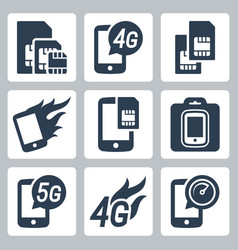 Simcards 4g 5g and mobile communication related vector