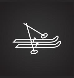 ski with sticks thin line on black background vector image