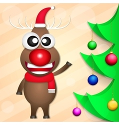 Smiling Christmas deer vector