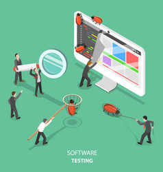 Software testing flat isometric concept vector
