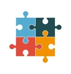 Square in four puzzle pieces icon vector