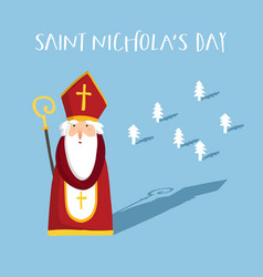 St nicholas greeting card old man with mitre vector