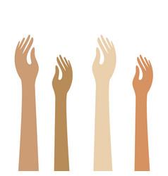 Students kids raising hands - flat colour icons vector