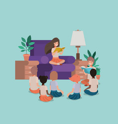 Students sitting in the livingroom reading book vector