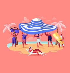 summer season vacation concept tiny people carry vector image