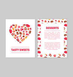 tasty sweets desserts banner templates set vector image