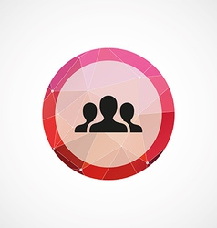 Team circle pink triangle background icon vector