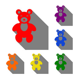 teddy bear sign set of red orange vector image